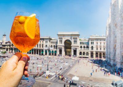 Spritz aperol drink in Milan, overlooking Piazza Duomo